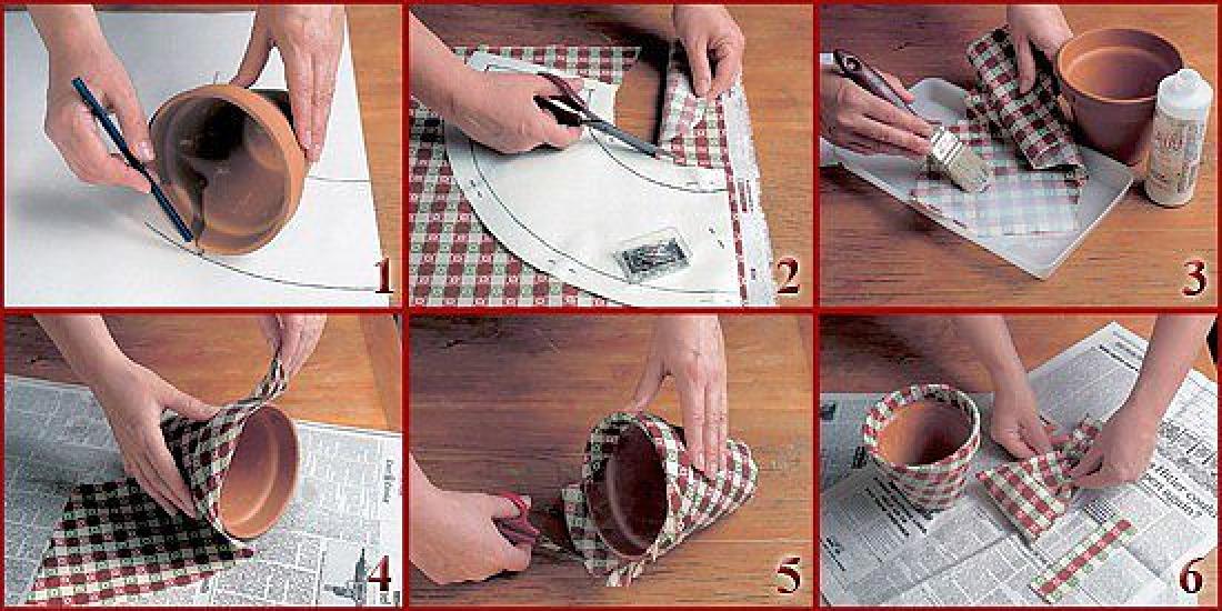 Украсить цветочный горшок своими руками бумагой